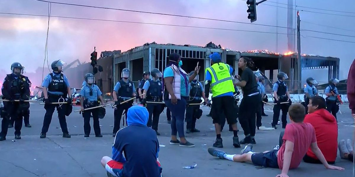Protesters set Minneapolis police station afire