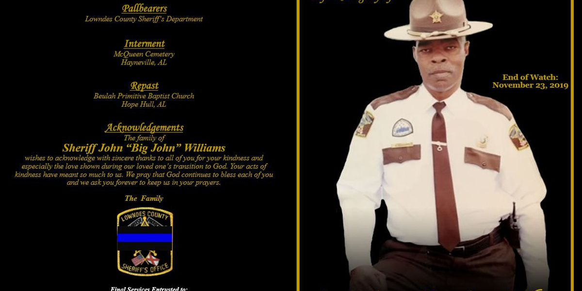 Program shows order of service for Sheriff 'Big John' Williams' funeral