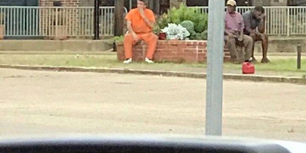 Inmate facing felony charge found sitting in front of county courthouse