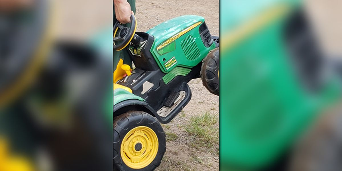 Toddler drove his toy tractor to the county fair to ride the Tilt-a-Whirl without asking permission