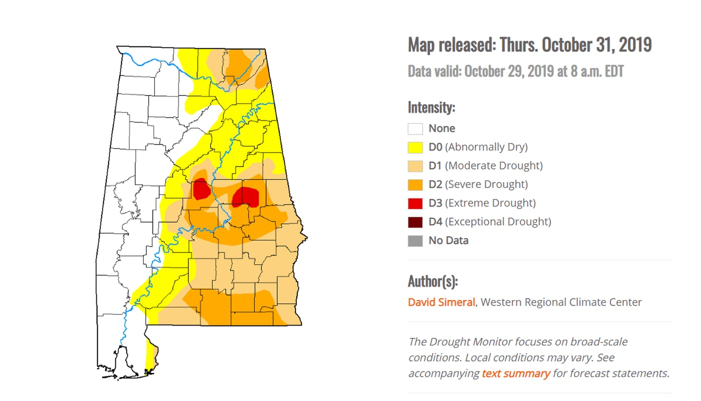 Drought conditions persist across central and south Alabama