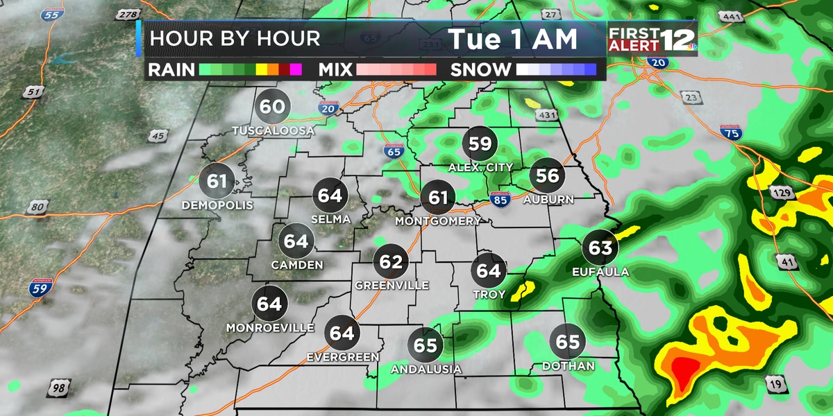 Widespread rain tonight; colder Wednesday and beyond