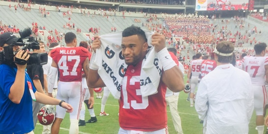 Alabama coasts 56-14, Hurts can no longer redshirt