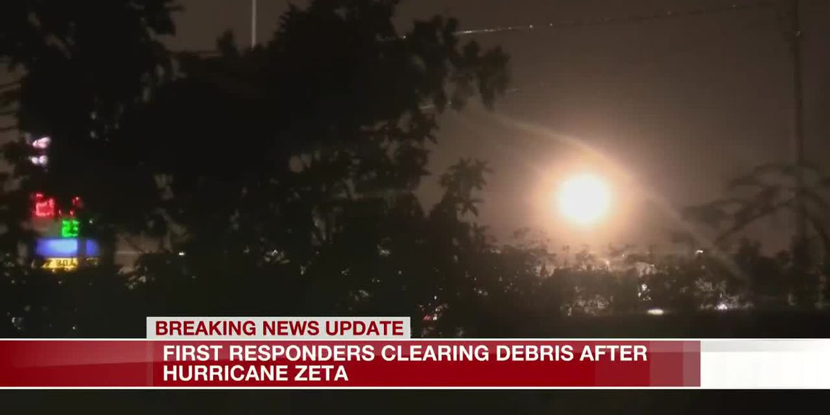 First Responders clearing debris after Hurricane Zeta