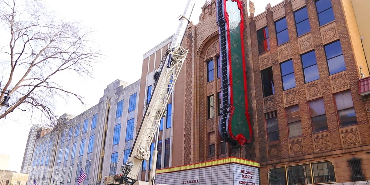 Alabama Theatre sign comes down for refurbishing