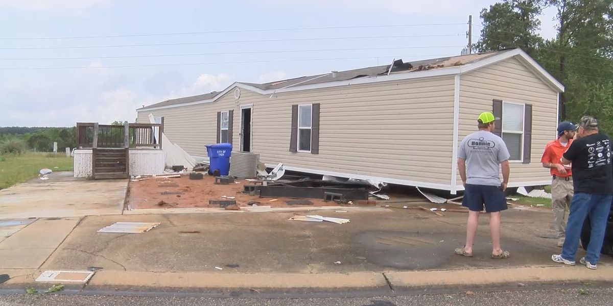 Mobile homes that flipped in Troy tornado may not have been anchored down properly