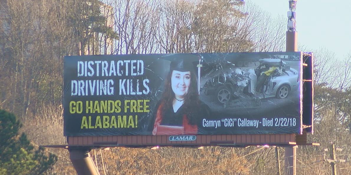 Billboard shows picture, car of student killed by distracted driving
