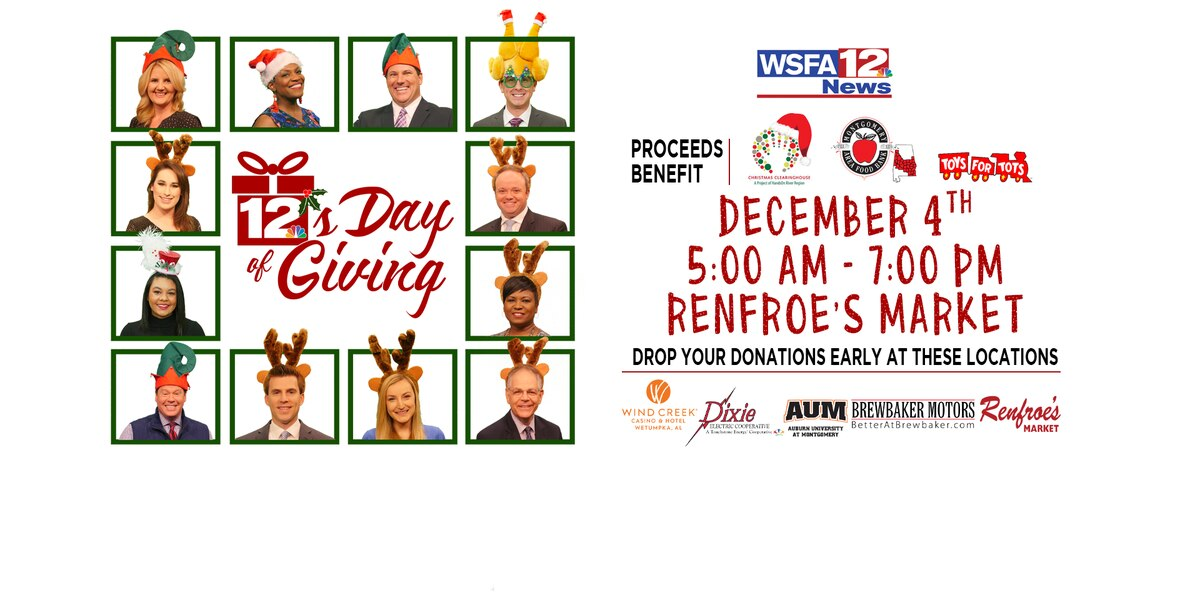 WSFA 12 News' annual 12's Day of Giving happening today