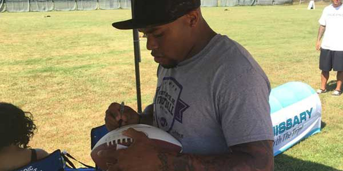 Steve Smith of the Baltimore Ravens visits Maxwell AFB