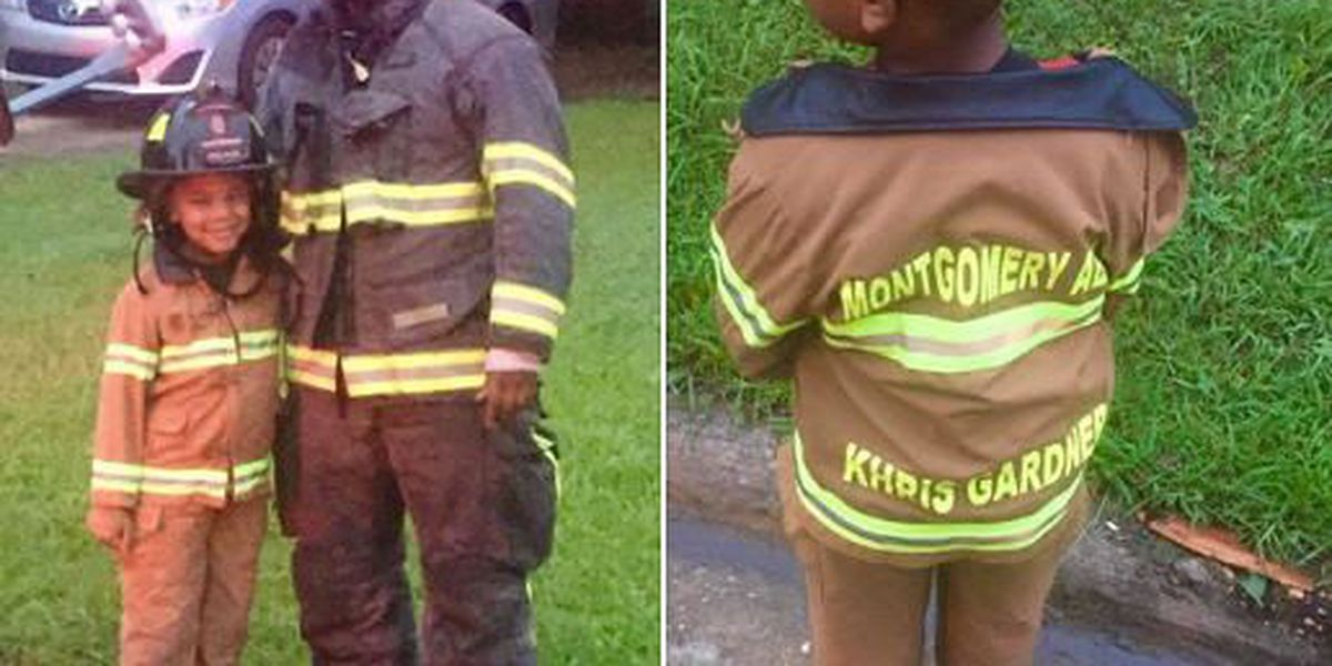 Boy gears up to help firefighters during Thursday's storm cleanup