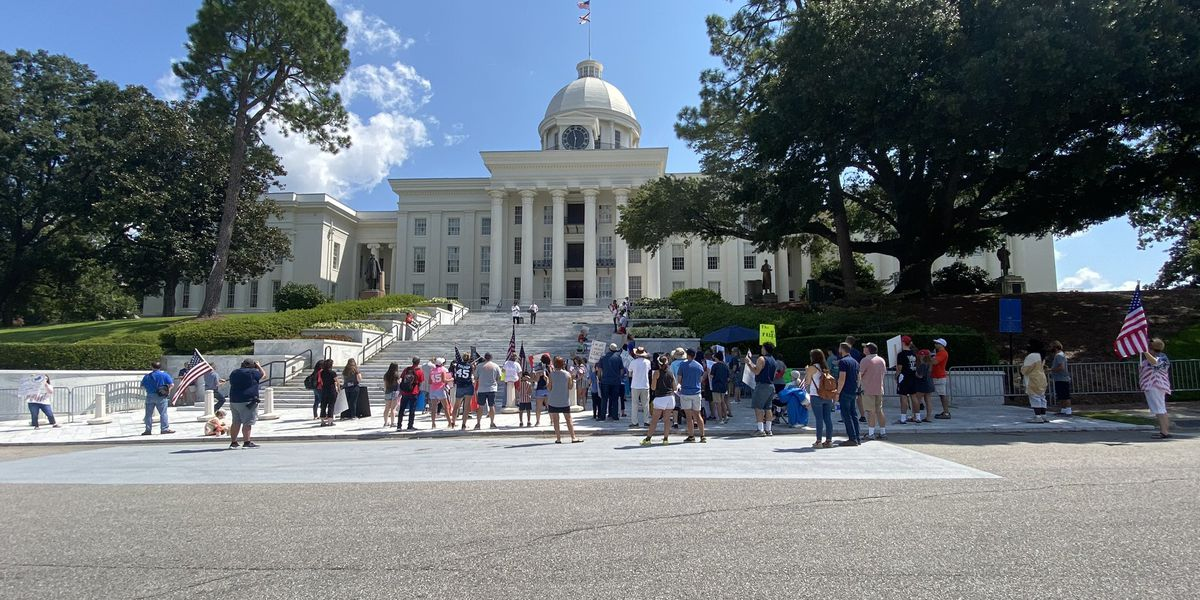 Protesters rally against mask mandate, restrictions outside Ala. Capitol