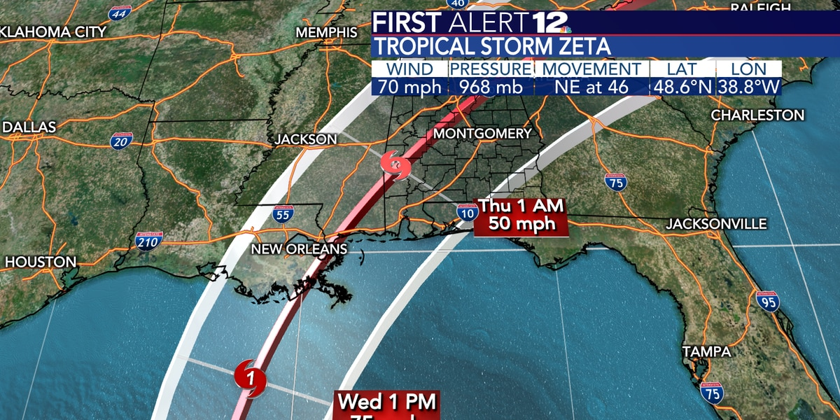 Zeta to become hurricane, head for northern Gulf Coast