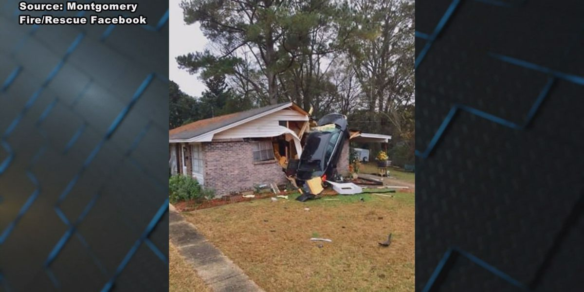 Family reacts after car crashes into their home