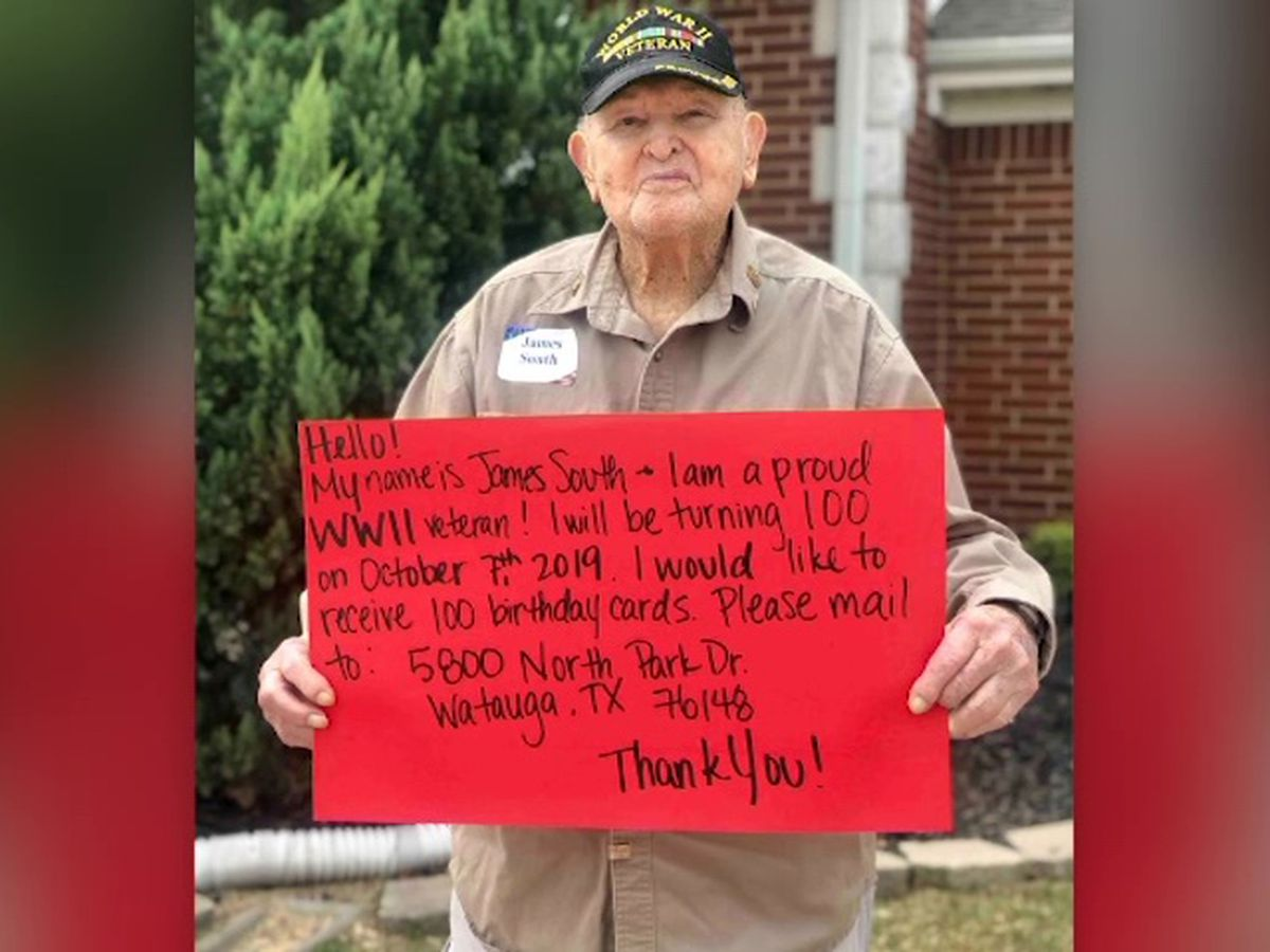 Texas WWII veteran wants 100 cards for his 100th birthday