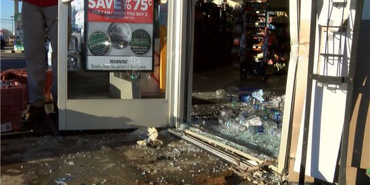 Car crashes into display at Montgomery gas station