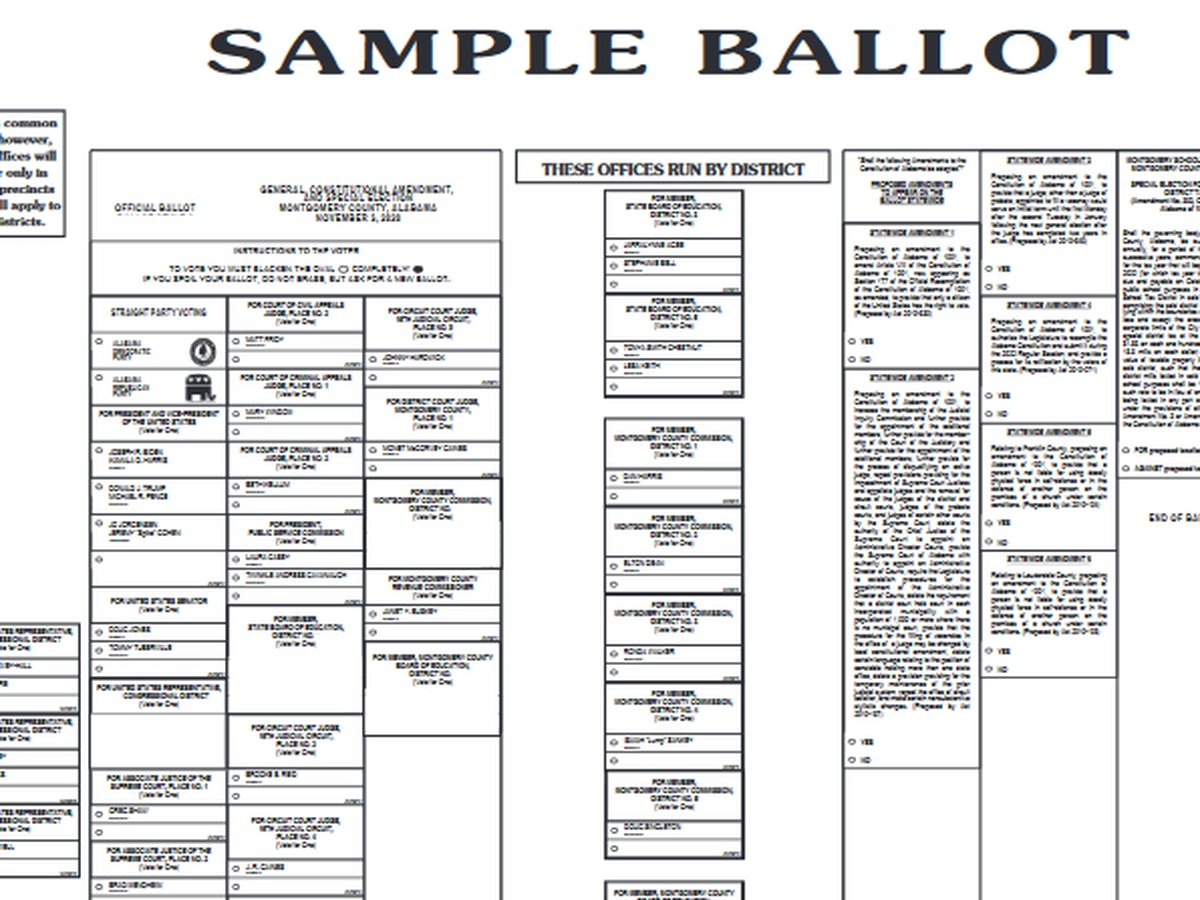 See every county's sample ballot ahead of Nov. 3 election