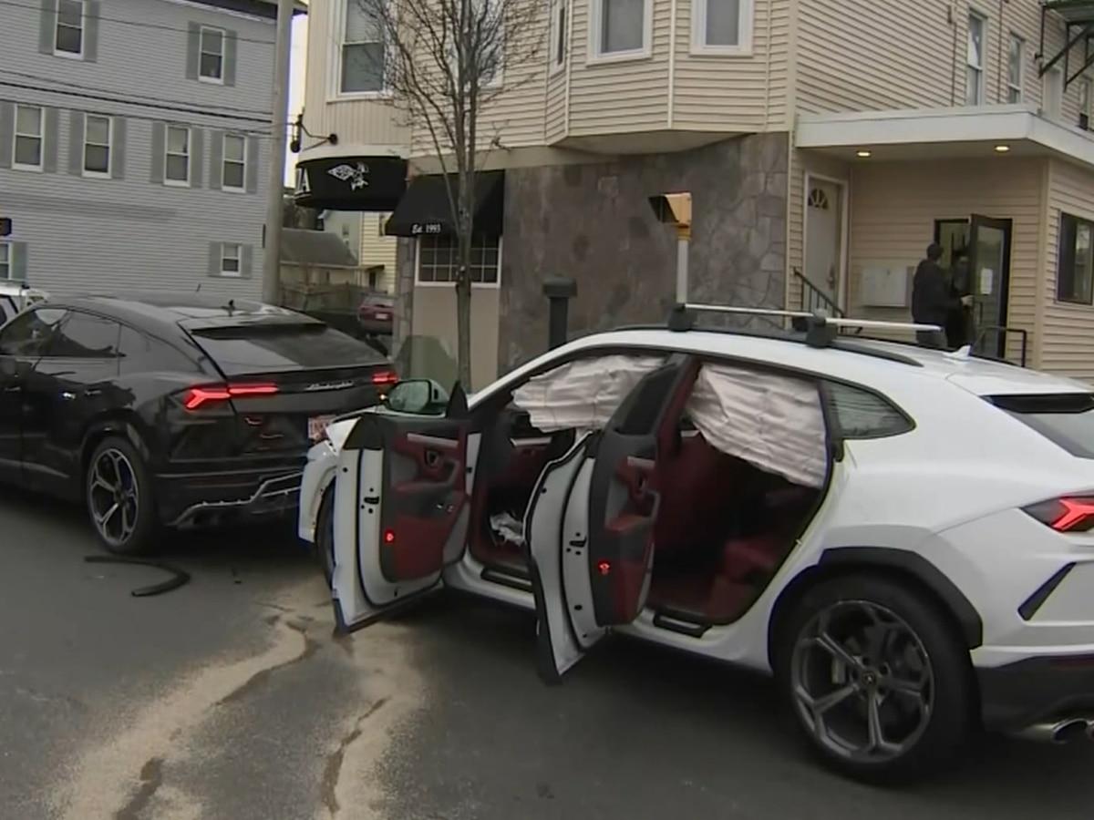 Police: Stolen Lamborghini SUVs found after crash in Mass.