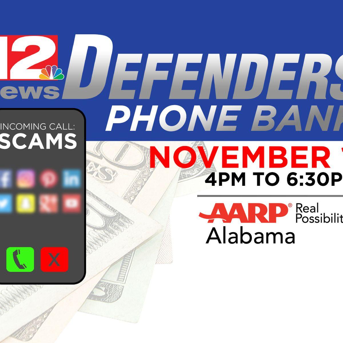 WSFA 12 News hosting Defenders phone bank Tuesday