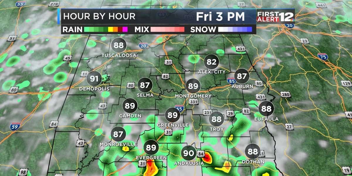 Scattered storms Friday