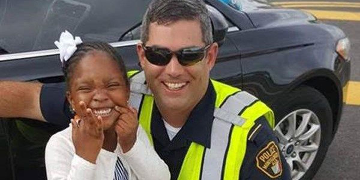 Young girl brightens Montgomery police officer's day