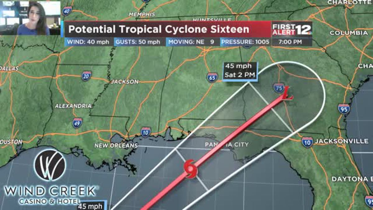 Potential Tropical Cyclone Sixteen: brings rain, wind to our area Friday night/Saturday