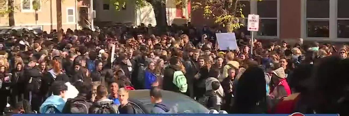 Students protest firing of security guard