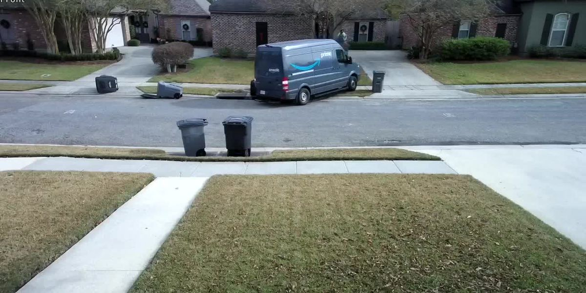 CAUGHT ON CAMERA: Amazon delivery van rolls down driveway, hits light pole