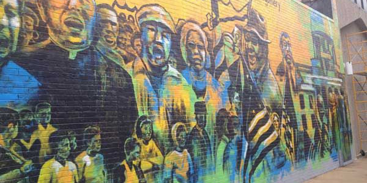 Montgomery mural depicting voting rights march completed