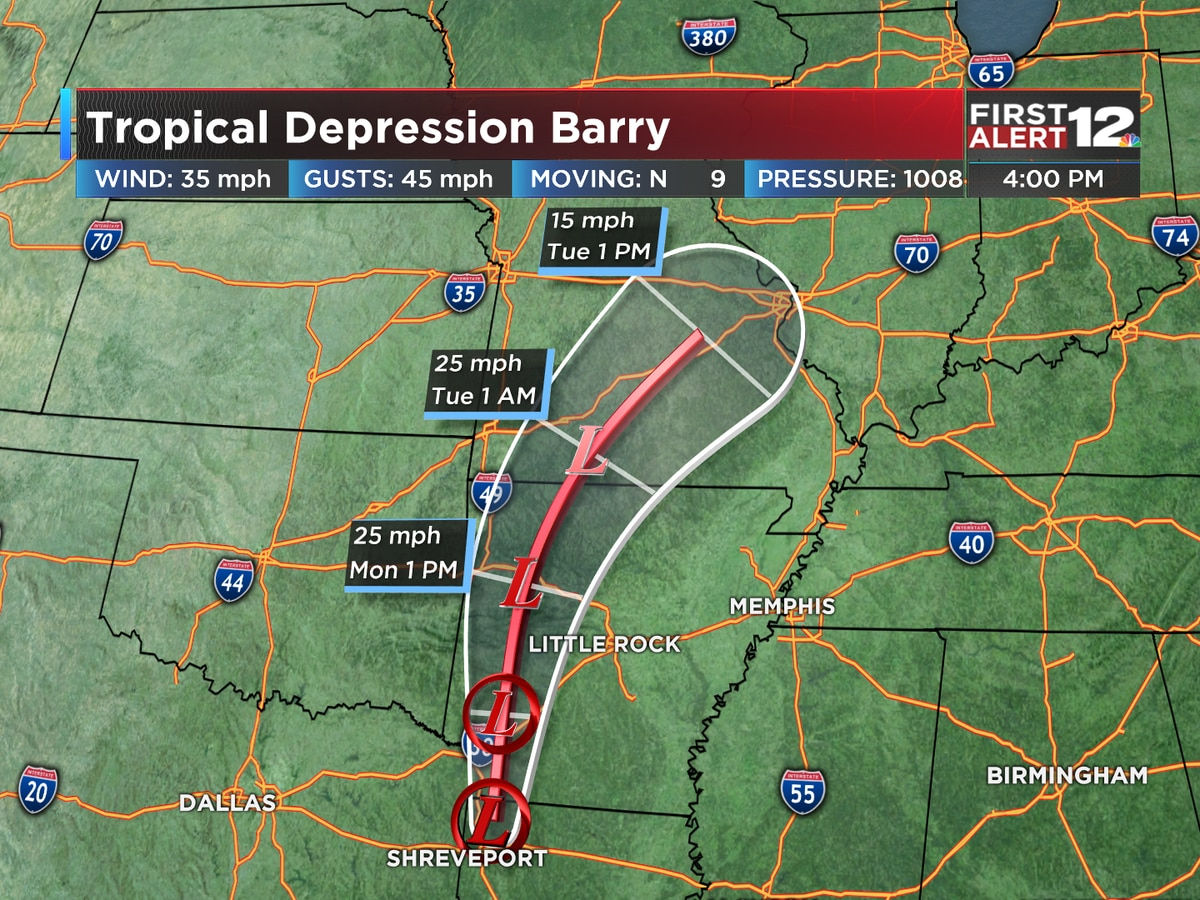 Barry a weakening tropical depression, Warm-up on the way for Alabama