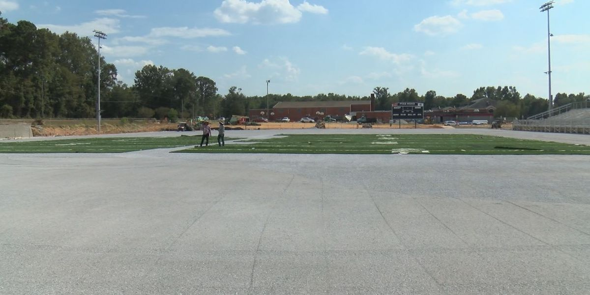 Pike Road High School rolling out turf for new football stadium