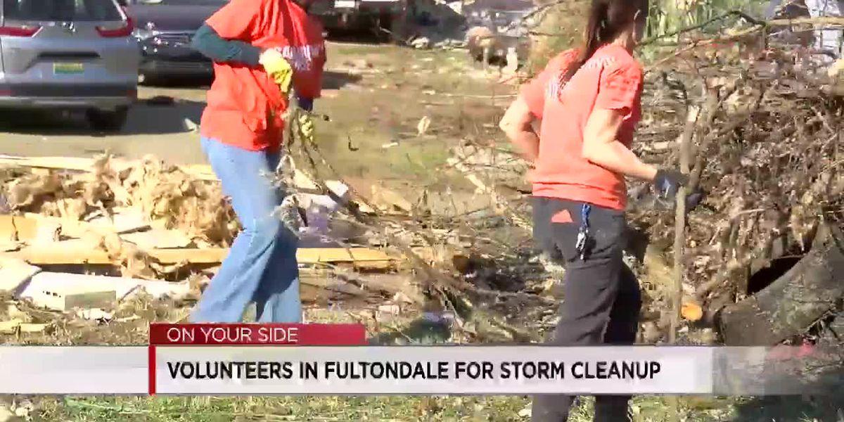 Volunteers work to help clean Fultondale homes after tornado devastation