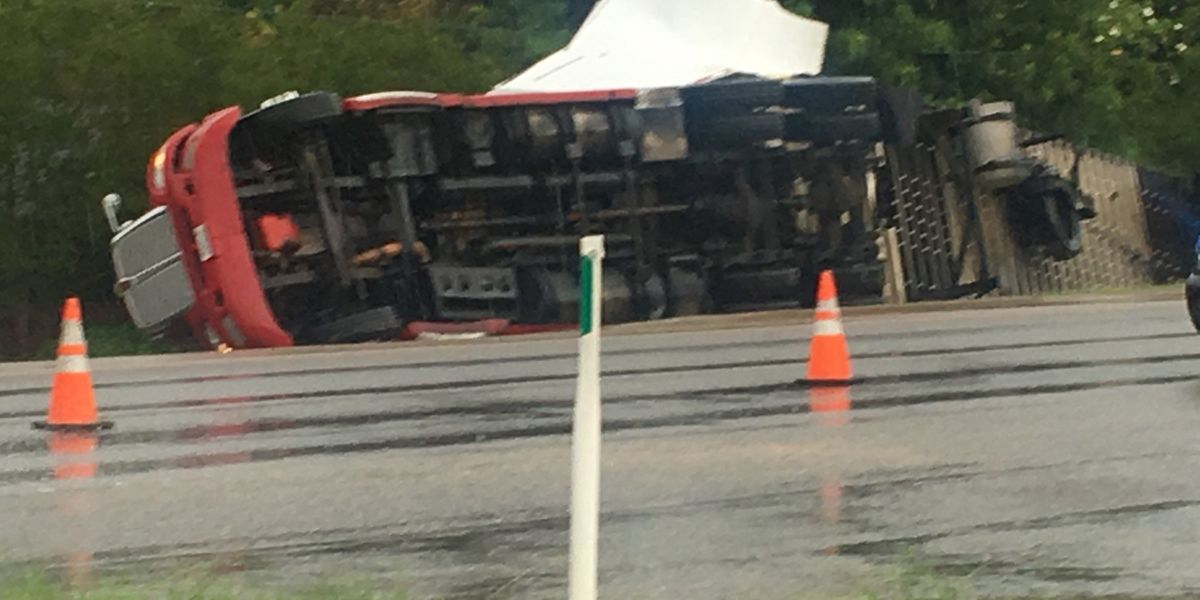 No injuries after 18-wheeler overturns on Taylor Road