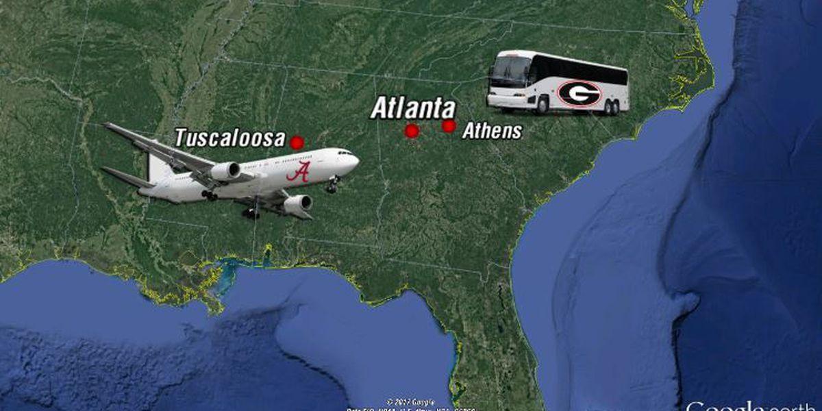 Friday night arrival in Atlanta for Tide, Bulldogs