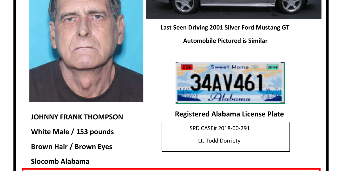 Missing Person alert issued for south AL man