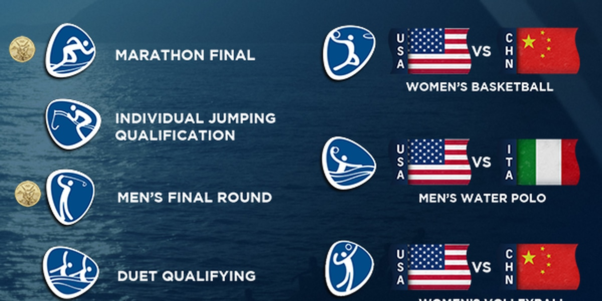 OLYMPICS: women's marathon, women's basketball, men's water polo, and more, coming up at 7 am
