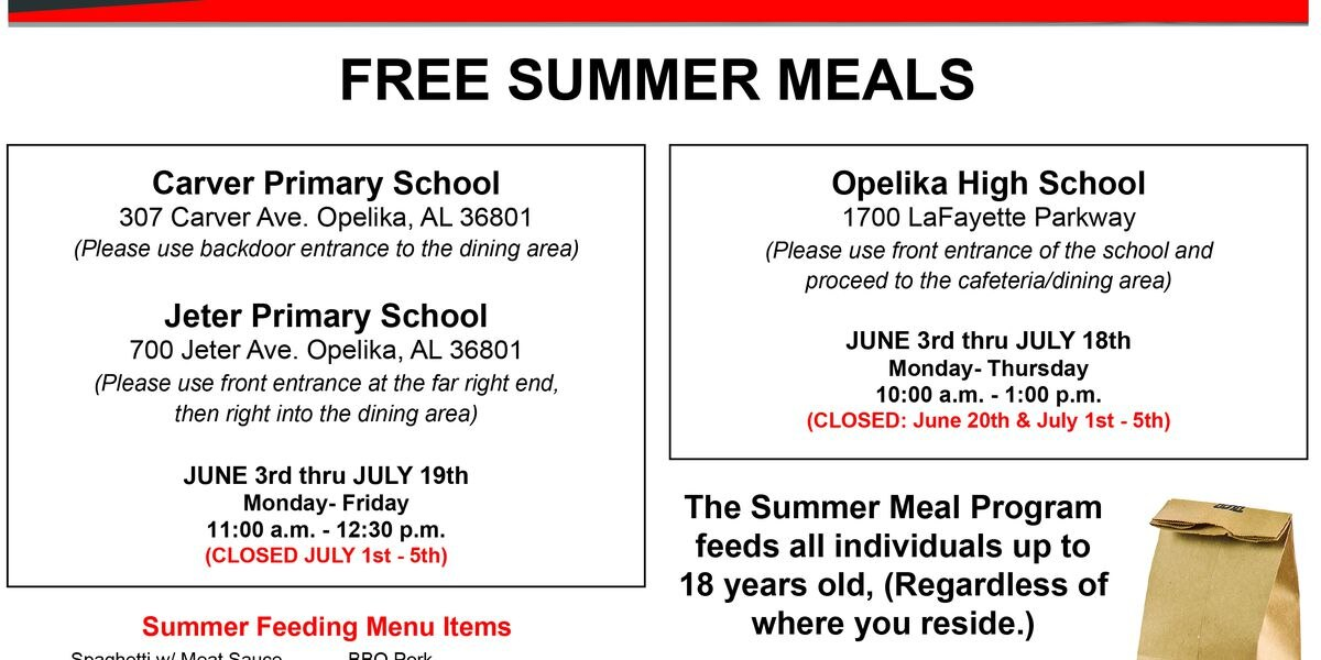 Summer programs offer free meals in East Ala.