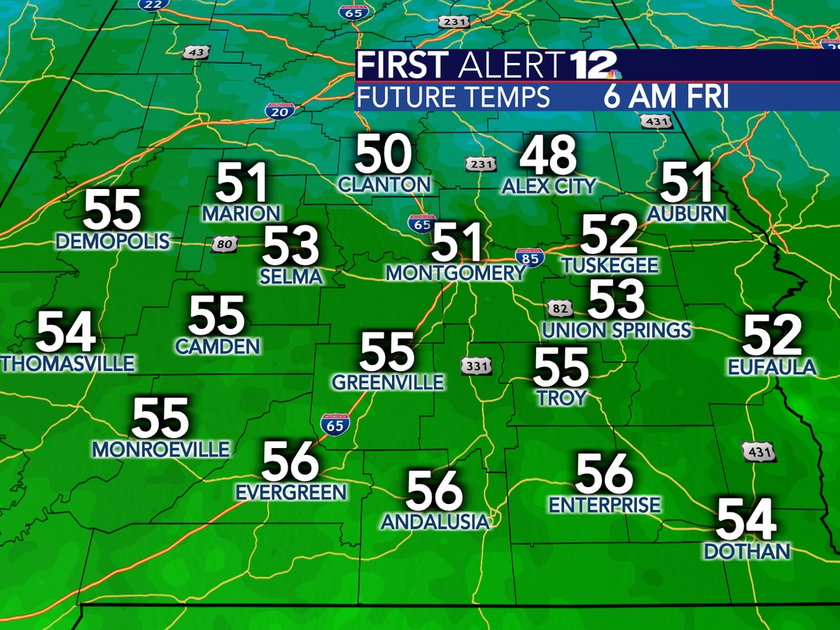 Sunny, comfortable Friday forecast