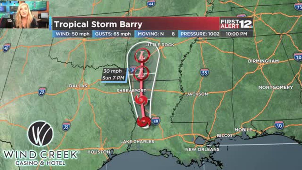 Tropical Storm Barry 10 pm Update