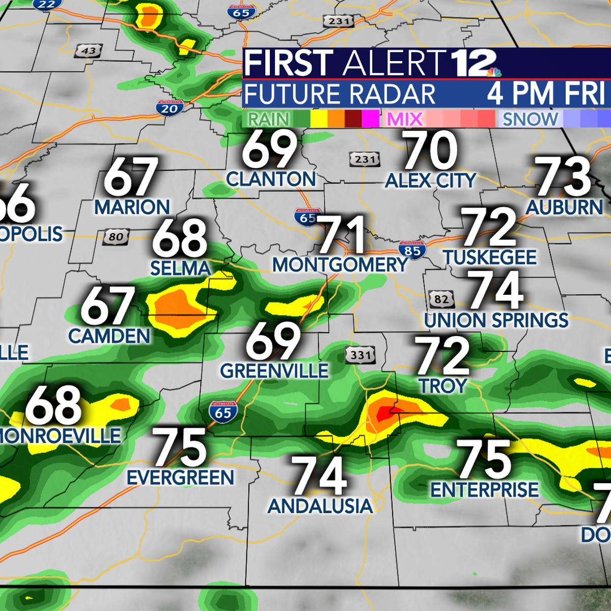 Scattered showers, storms return Friday with plenty of rain Sunday