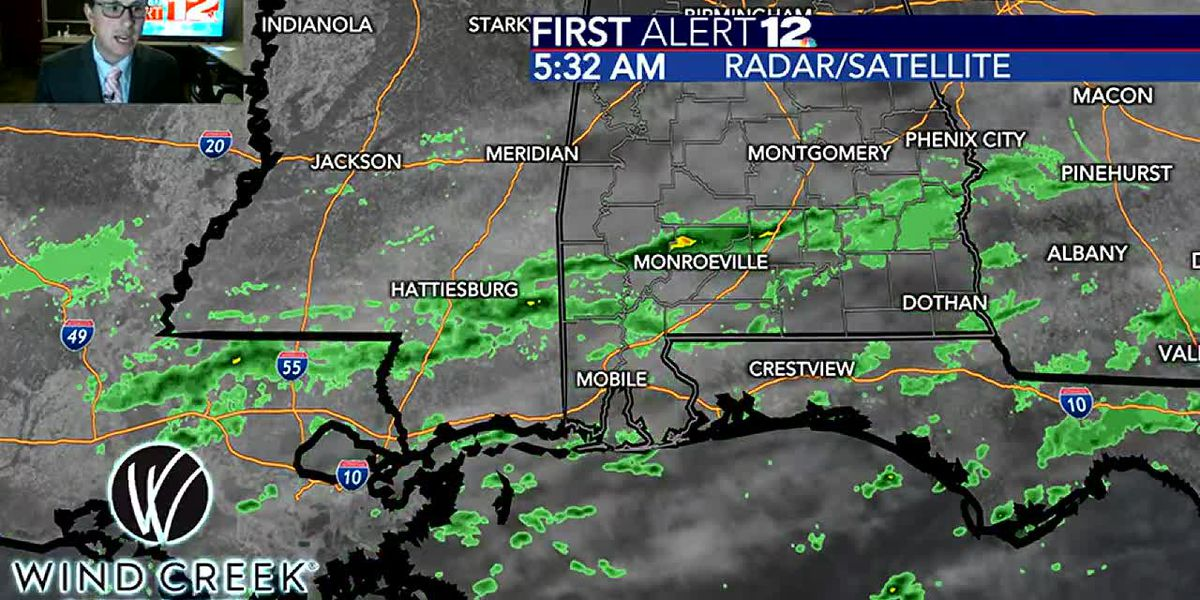 Light rain in spots this morning, strong cold front Wed.