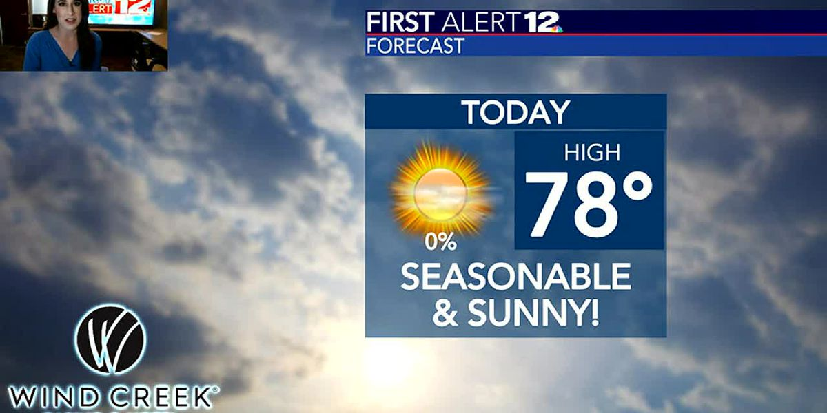 Sunny and seasonable, for now... cold makes a brief return soon!