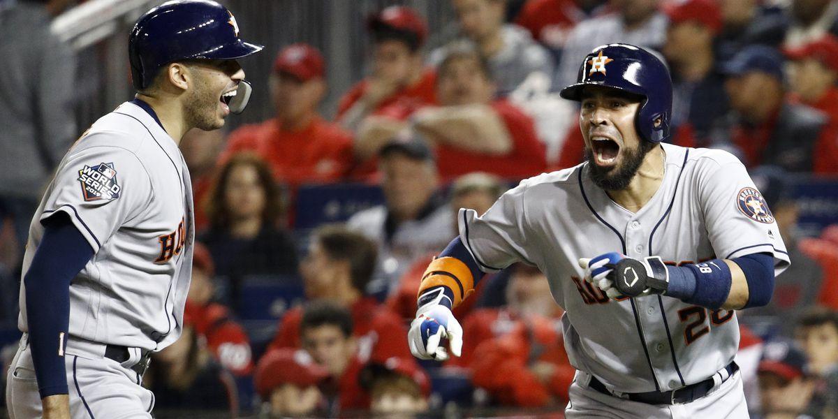 Astros pound Nats 8-1, even World Series 2-2