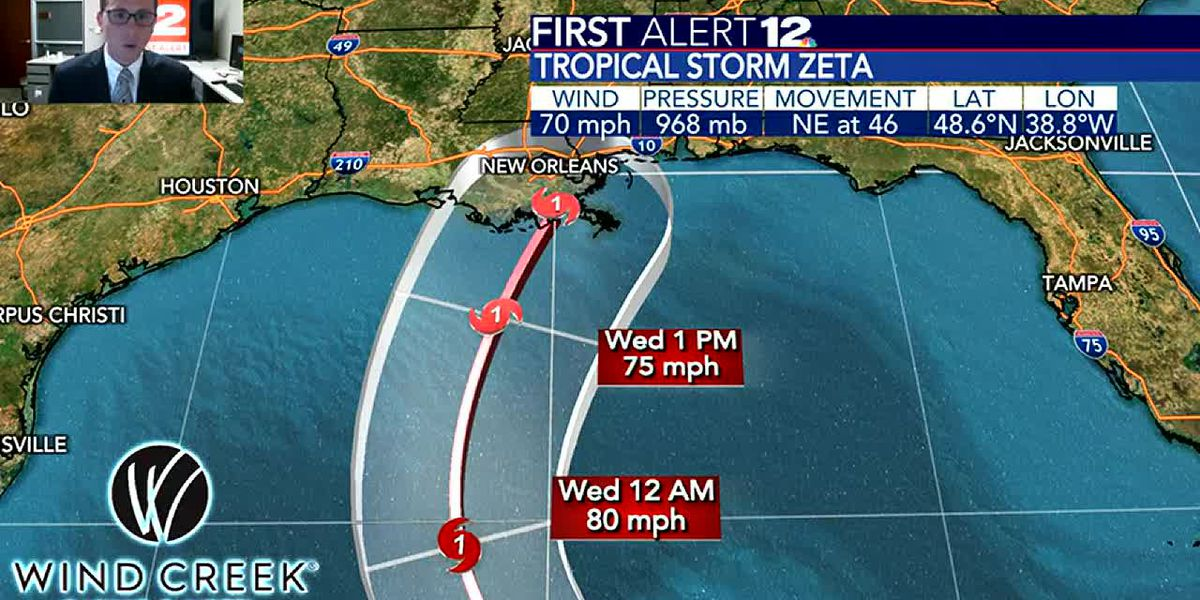 Zeta to become hurricane and head toward northern Gulf Coast