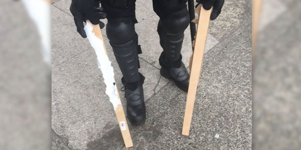 Bear spray, shields, metal poles seized at Portland protests