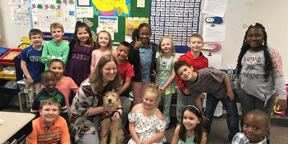 Bailey teaches students at Coosada Elementary about being a service dog