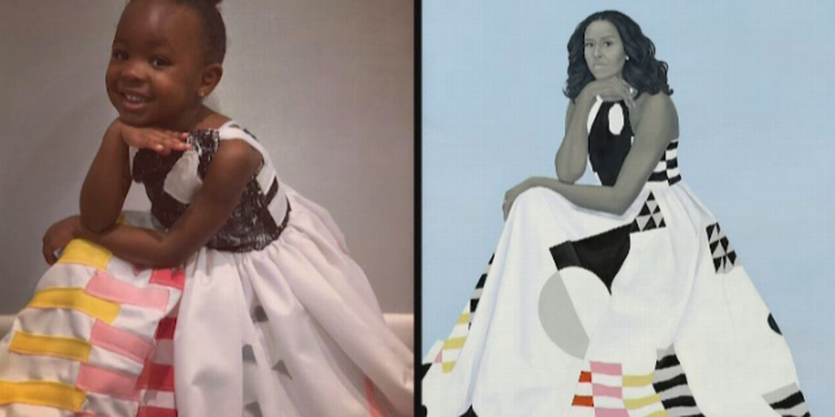 little girl awestruck by michelle obama s portrait went as her for