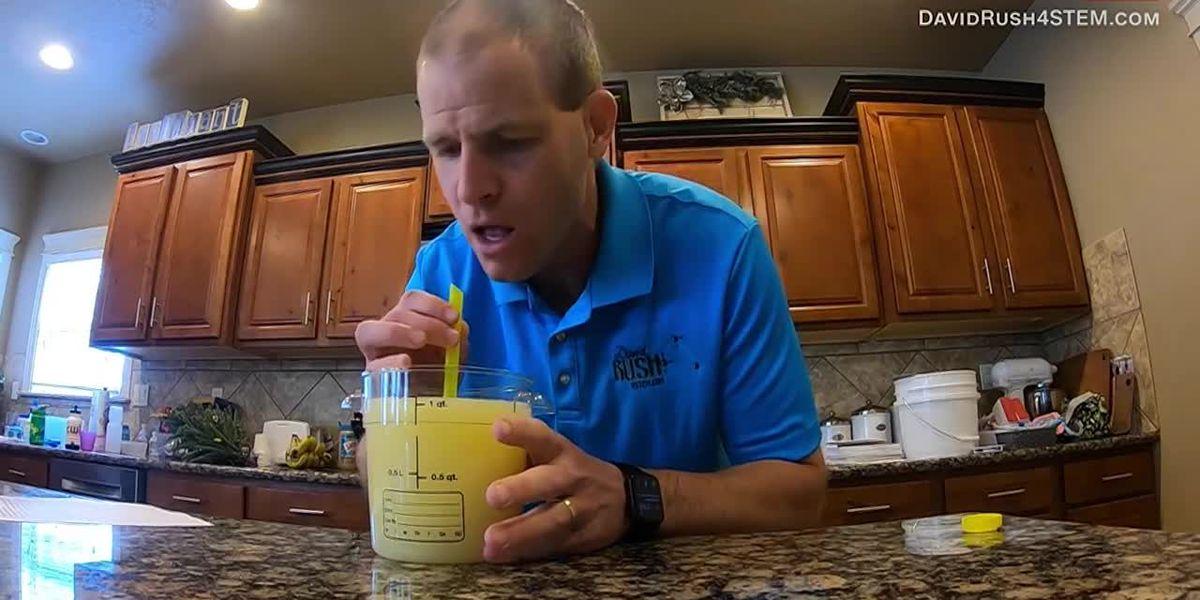 Pucker up: Man drinks lemon juice through straw in record time