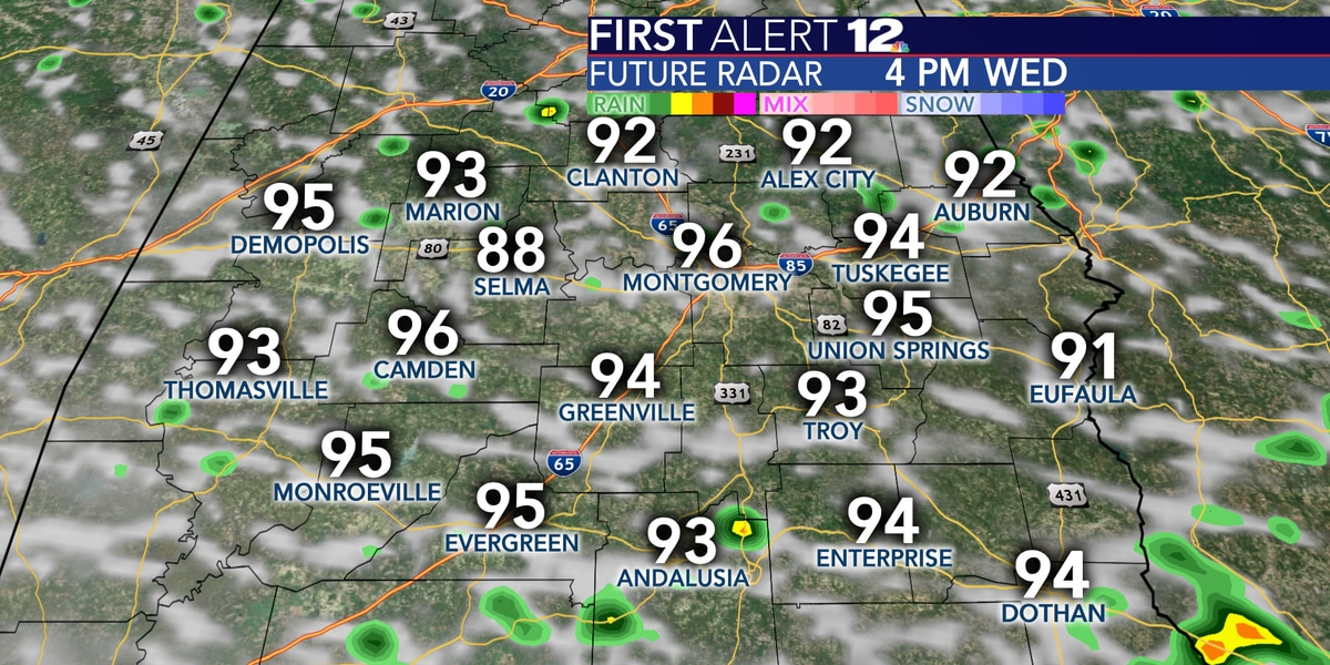 Big heat, small rain coverage through Friday