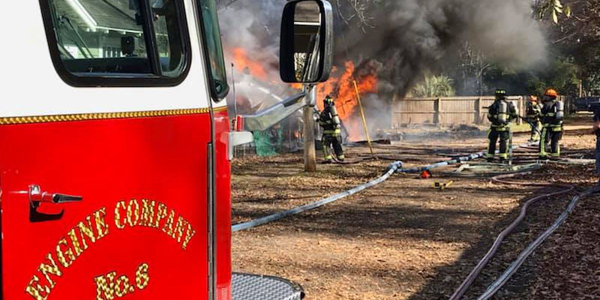 Shed catches fire behind Montgomery home