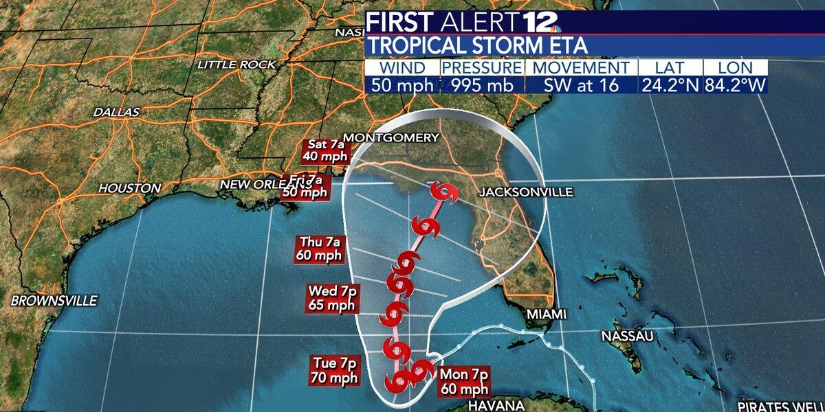 Eta in Gulf, will send muggy air and rain chances our way